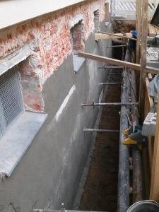 Wand nach der Untergrundvorbereitung